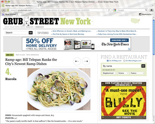 Rucola included in Grub Street's feature on New York's best ramp dishes