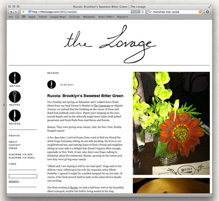 Rucola featured in The Lovage